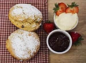 tea time in Britain scones with jam and clotted cream